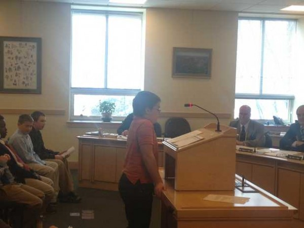 Hunter Qurrion, a sixth grader at the Spruce Mt. Middle School in Jay, addresses members of the Maine Legislature's Inland Fisheries and Wildlife Committee during a hearing Tuesday in Augusta. Qurrion was speaking in support of a bill that would allow youth hunters to shoot an anterless deer any time during the regular firearms season.