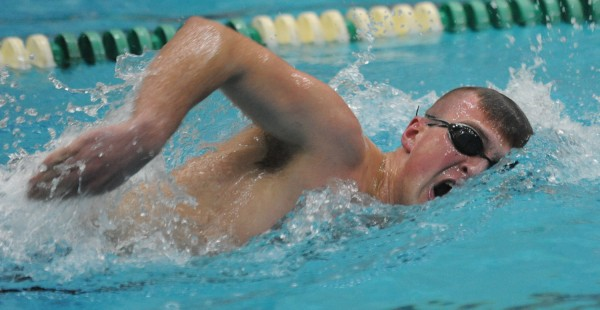 Mount Desert Island swimmer Madison Luck competes in the boys 500 yard freestyle at Husson during the Penobscot Valley Conference boys Championship on Monday. Luck finished first with a time of 5:27.85.