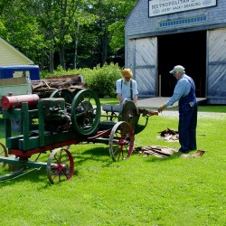 Pictured is the operation of an early gasoline engine used to saw wood at the Boothbay Railway Village. Learn more about this activity at the Boothbay Railway Village this Saturday, Feb. 9, at 1:30pm.  The talk is free to the public.