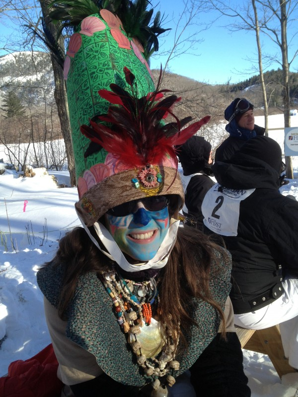 Deirdre Rynne of Scituate, Mass., waits for her teammates on &quotArmasleddin&quot at the U.S. National Toboggan Championships.