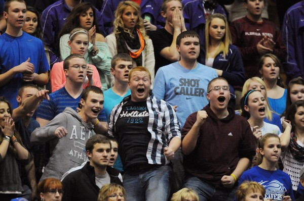 Washburn fans react to the action on the floor as their team takes on Central Aroostook on Thursday at the Bangor Auditorium during class D tourney action. CA won 66-63.