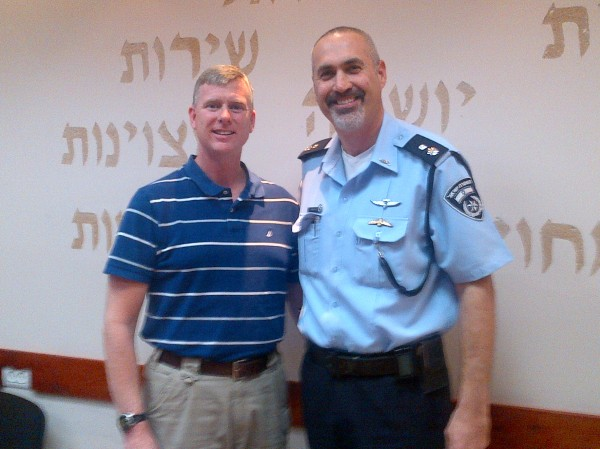 Maine State Police Col. Robert Williams, left, went to Israel for a week, returning on Feb. 4, 2012, to learn counter-terrorism tactics. He is pictured with Chief Superintendent Binyamin Herness, who is commander of the Kfar Saba Police Station.