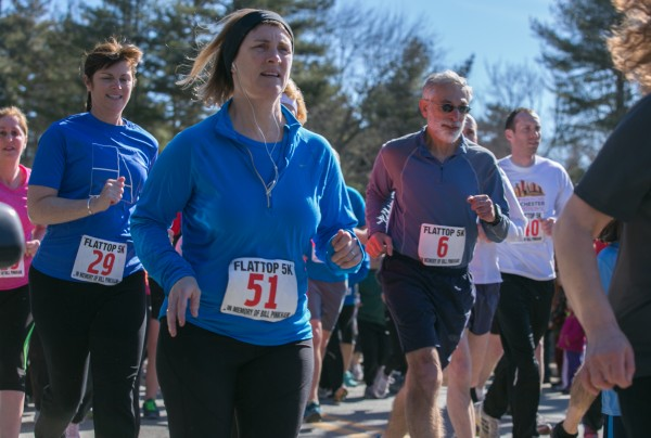 Runners start the Flat Top 5k race at the Lamoine Consolidated School on Saturday, March 30, 2013.