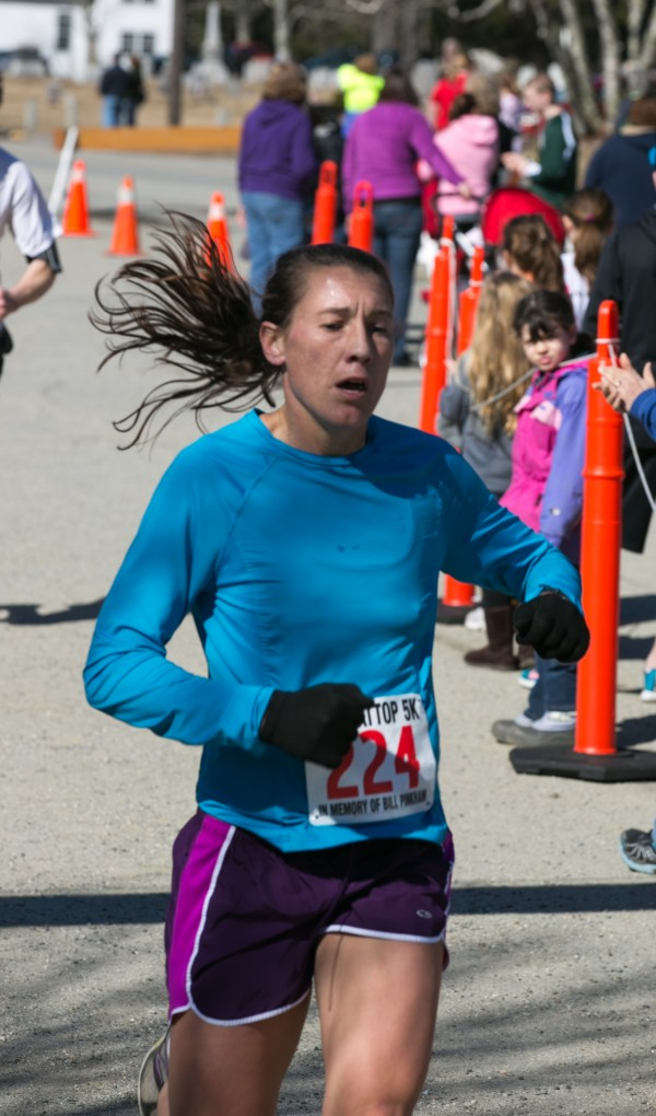 Jennifer Van Dongen of Bar Harbor was the first female to cross the finish line at the Flattop 5k on Saturday, March 30, 2013.