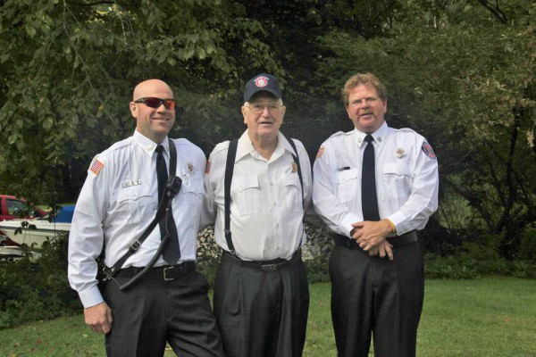 "Incoming Bowdoinham Fire Chief Arthur ""Fudd"" Frizzle, his father, former Bowdoinham chief Allan Frizzle, and his brother, Deputy Chief Bob Frizzle."