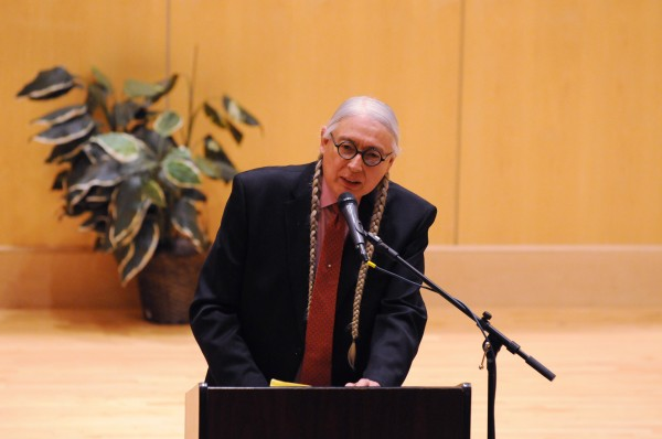 Attorney, activist and author Walter Echo-Hawk address a group gathered at the Minsky Recital Hall on the University of Maine campus on Thursday.