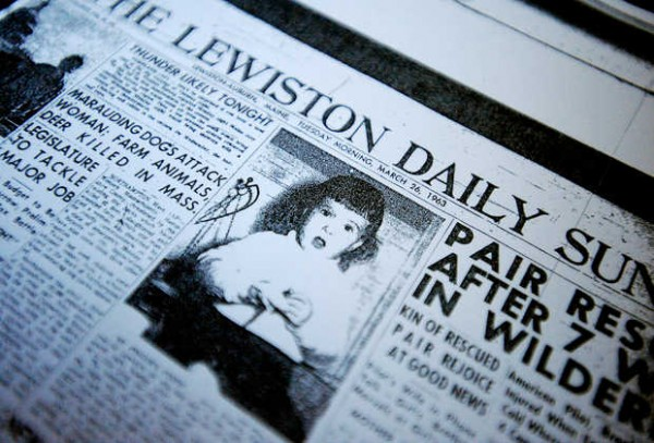 A microfilm copy of the March 26, 1963, Lewiston Daily Sun shows a 22-month-old Joyce Kenney with a bandaged finger.