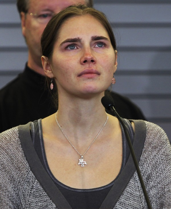 Amanda Knox pauses while speaking during a news conference at Sea-Tac International Airport, Washington after landing there on a flight from Italy on Oct. 4, 2011. Italy's highest appeals court Knox's acquittal in the Meredith Kercher murder trial, on Tuesday, March 26, 2013.