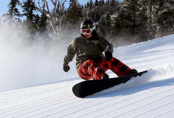 Olympic snowboarder Seth Wescott rides down the &quotGondola Line&quot trail in 2008 at Sugarloaf.