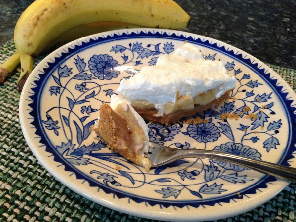 Banoffee pie is a popular dessert in England combining bananas with a thick, milk caramel toffee.