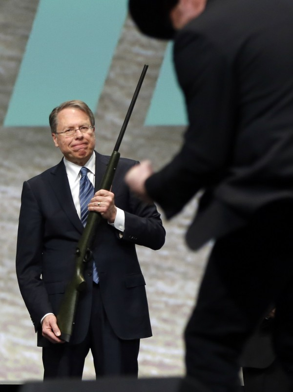 wayne LaPierre, executive vice president of the National Rifle Association (NRA).holds a 300 Remington Ultra Mag.
