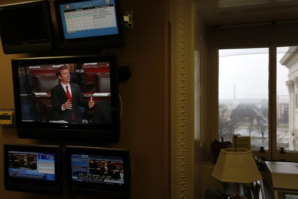 U.S. Sen. Rand Paul, R-Ky., appears on a television screen in the Capitol during his filibuster on Wednesday.