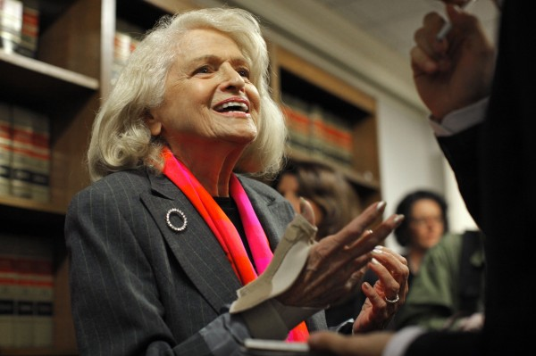 Edith Windsor, whose challenge to the Defense of Marriage Act will be heard by the U.S. Supreme Court, speaks to the media in 2012.