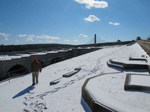 Roger Bennatti, Assistant Director of Friends of Fort Knox, surveys the fort from its snow-covered roof on Tuesday, Feb. 26, 2013.