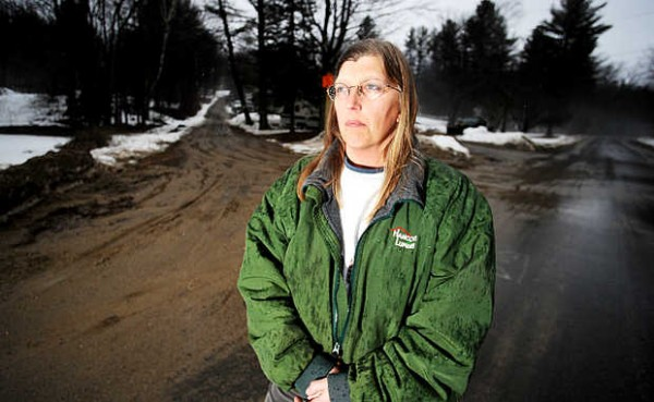 Linda Pothier, her husband and her uncle are in a dispute with Nicole Lutz and her family over use of Abbott Pond Road, on the left, in Sumner. The Pothiers claim they have been using the road for years and should be able to use it to access a farm they have on the road. Lutz claims she owns the road.