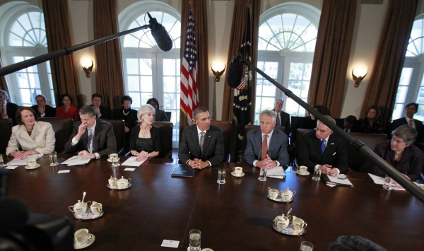 President Barack Obama participates in his first cabinet meeting of his second term in the Cabinet Room of the White House in Washington, on March 4. With Obama are (from left) Small Business Administration's Karen Mills, Education Secretary Arne Duncan, Health and Human Services Secretary Kathleen Sebelius, Secretary of Defense Chuck Hagel, Transportation Secretary Ray LaHood and Secretary of Homeland Security Janet Napolitano.