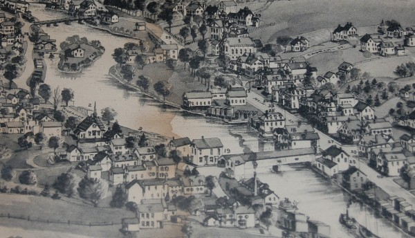 Cherryfield as a bustling center of commerce in the 19th Century, when this bird's-eye-view map now displayed in the schoolhouse  was created. Although it takes some searching to find it, among the buildings depicted is Cherryfield Academy, a schoolhouse built in 1851.