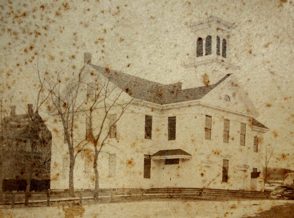 This undated and well-faded photo of Cherryfield Academy depicts the two-story schoolhouse not long after it was built in 1851 as a high school.