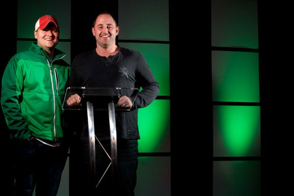Lead Pastor Joshua Gagnon (right) and Location Pastor Allen Robbins of the Next Level Church stand in the high tech pulpit at their Portland location. The church also has two branches in New Hampshire and one in Massachusetts.