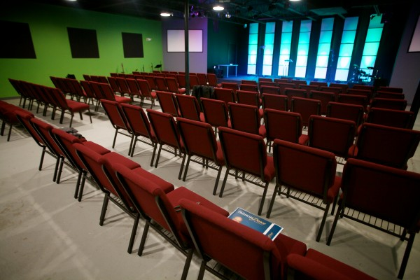 The Next Level Church in Portland features video screens, a contemporary look and a rock band each Sunday.