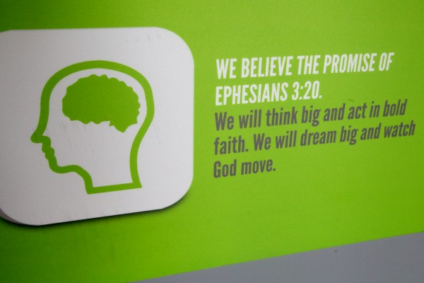 A sign proclaims one of the Next Level Church's 12 core values in its Portland location.