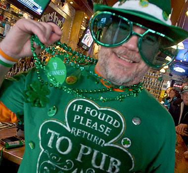 "David ""Chris"" Doe of Bath celebrates St. Patrick''s Day last year at Byrnes Irish Pub in Bath."