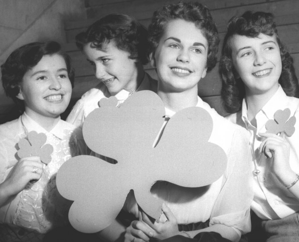 Irish eyes were smiling in March 1955. Preparing to celebrate St. Patrick's Day in honor of Ireland's patron saint are (from left) Christina Shannon, Judy McNamara, Ann Cowan and Janet Sullivan.