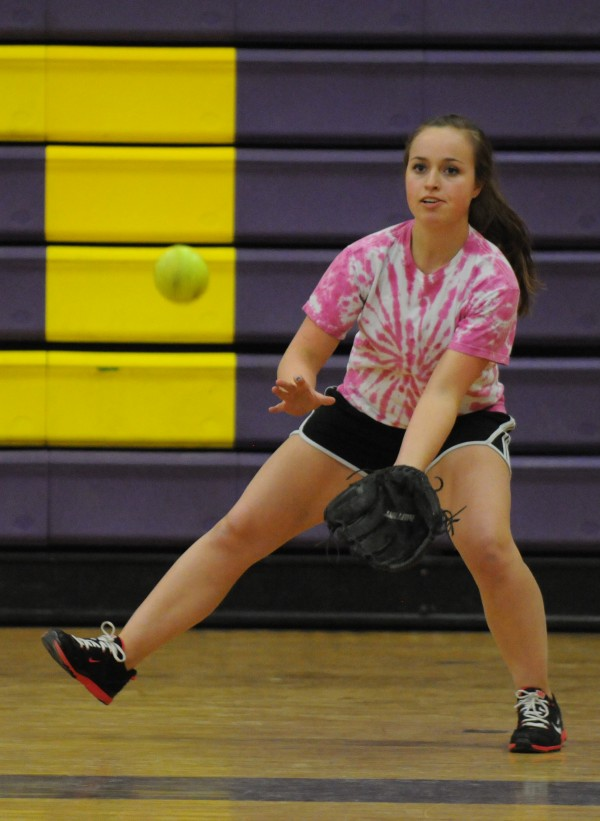 Bucksport High School student Eliza Hosford looks to field a ball off the bat of Debbie Wight during the first softball try out of the season at Bucksport High Sschool on Monday. Read the story here.