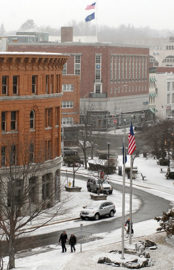 The snow has started to fall in Bangor and is to continue into Wednesday morning, the first day of spring.