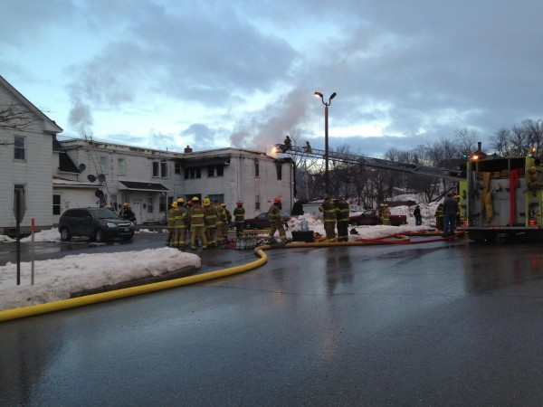 Crews from three towns fought an apartment house fire Sunday evening in Presque Isle.