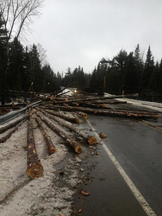 Route 2A in Reed Plantation in southern Aroostook County was shut down for about 3 hours on Tuesday, March 5, after a log truck rolled over, spilling its load across the road. The driver, 20-year-old Able Shaw, was not hurt, according to police.