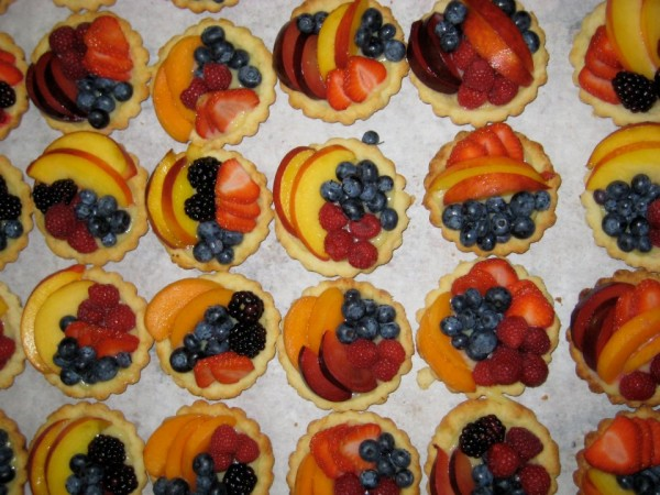 Fruit tarts sit on display at Morning Glory Bakery in Bar Harbor.
