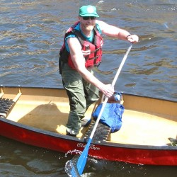 "Steve Longley, known throughout the Appalachian Trail hiking community as ""The Ferryman,"" passed away Saturday, March 2, at his home in Solon. Longley is seen in this undated photo during one of his annual stand-up rides in the Kendusgeag Stream Canoe Race."
