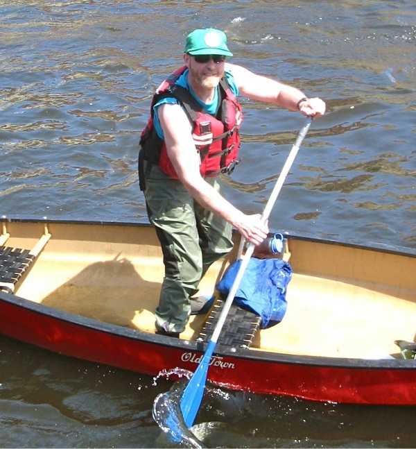 Steve Longley, known throughout the Appalachian Trail hiking community as &quotThe Ferryman,&quot passed away Saturday, March 2, at his home in Solon. Longley is seen in this undated photo during one of his annual stand-up rides in the Kendusgeag Stream Canoe Race.