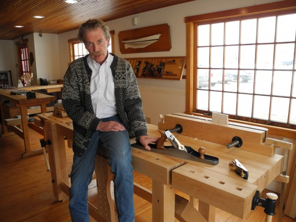 Tom Lie-Nielsen in the showroom of his company, Lie-Nielsen Toolworks.