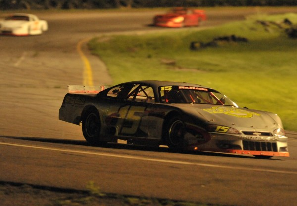 Hermon's Mike Hopkins speeds along in the #15 car in the Late Model race at Speedway 95, Hermon on Saturday, May 21, 2011.