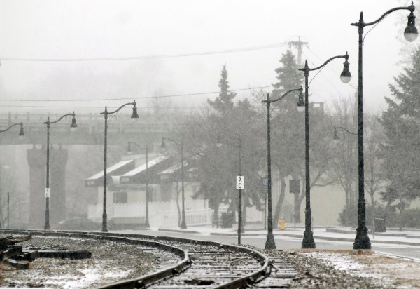 Railroad tracks along Front Street by Sea Dog Brewing Co. in Bangor on Tuesday.