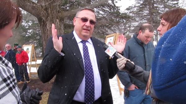 Gov. Paul LePage comments on the Legislature's delay in approving his plan to repay Maine hospitals millions of dollars in back debt on Wednesday, March 6, 2013, at the Blaine House in Augusta.