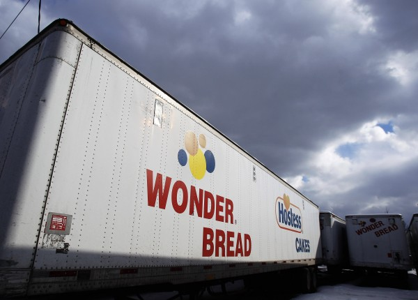 A Wonder Bread delivery truck trailer is seen parked outside the bakery plant in New York in 2011.