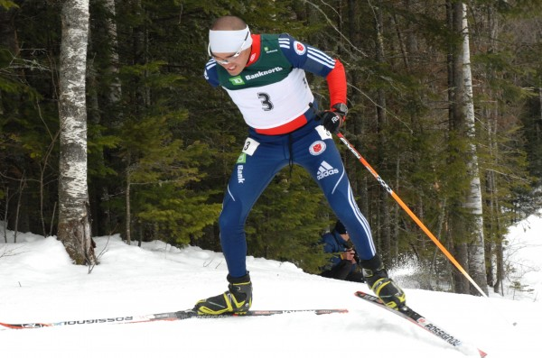 Adaptive skier Omar Bermejo powers up the final climb before entering the stadium at 10th Mountain in Fort Kent on Sunday. The member of the U.S. Paralympic team skied through three days of competition this weekend as part of the USA Biathlon championships.