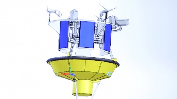 A rendering of the buoy system the University of Maine is developing to measure high-altitude wind speeds over the ocean.