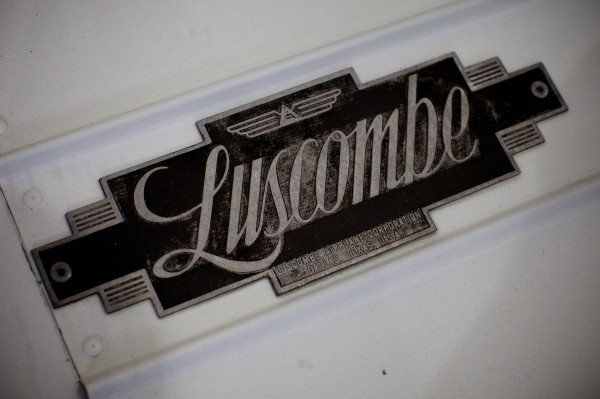 The nameplate from Kestrel Aircraft lead mechanic Scott Royal's 1948 Luscombe two-seater sits in a Brunswick hangar. He's restoring the old plane and hopes to have it in the air by May.