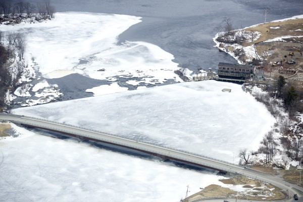 The recently replaced Piscataquis River bridge in Howland looking toward the Penobscot River during the 2013 spring melt.
