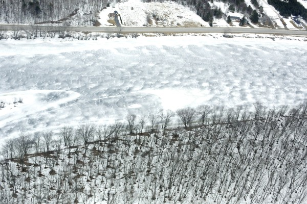 An aerial view of the Penobscot River during the 2013 spring melt.