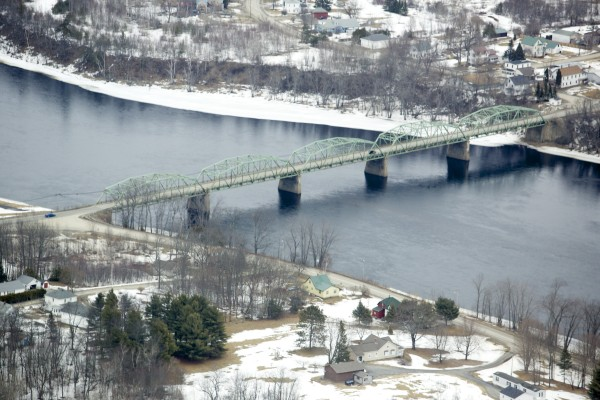 The Penobscot River Bridge in Howland is among many bridges that cross the Penobscot River. Seen during the 2013 spring melt.