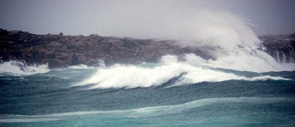 Wind gusts approaching 60 miles per hour generate a cavalcade of surf  within the Schoodic Section of Acadia National Park in Winter Harbor.