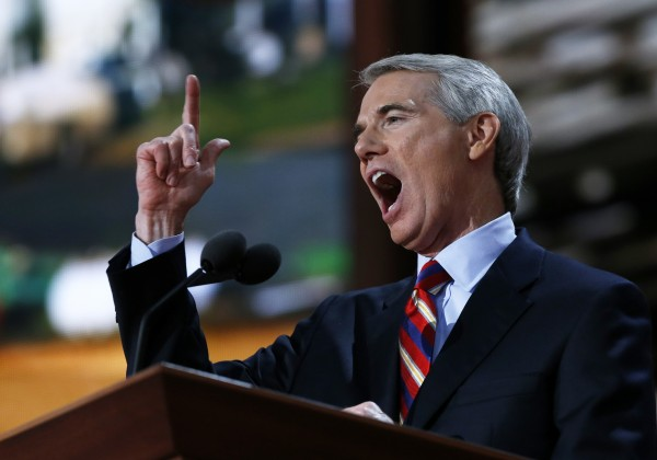 Ohio Sen. Rob Portman speaks during the Republican National Convention in August 2012 in Tampa, Fla.