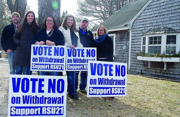 Kennebunkport Consolidated School parents are concerned about Kennebunkport's potential withdrawal from Regional School Unit 21 and the effect it could have on their kids. Pictured from left to right are James Spinney, Erica Knudsen, Amy Johnson, Liz Johnson, Dave Powell and Gaby Grekin.