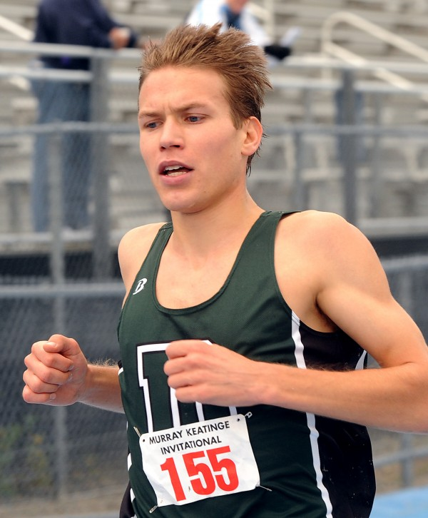 Ben True is shown at a cross country invitational meet in Orono in 2008.