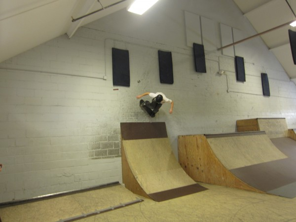 Jesse Albert of Scarborough rides above a quarter pipe at the Bath Skatepark on Sunday.